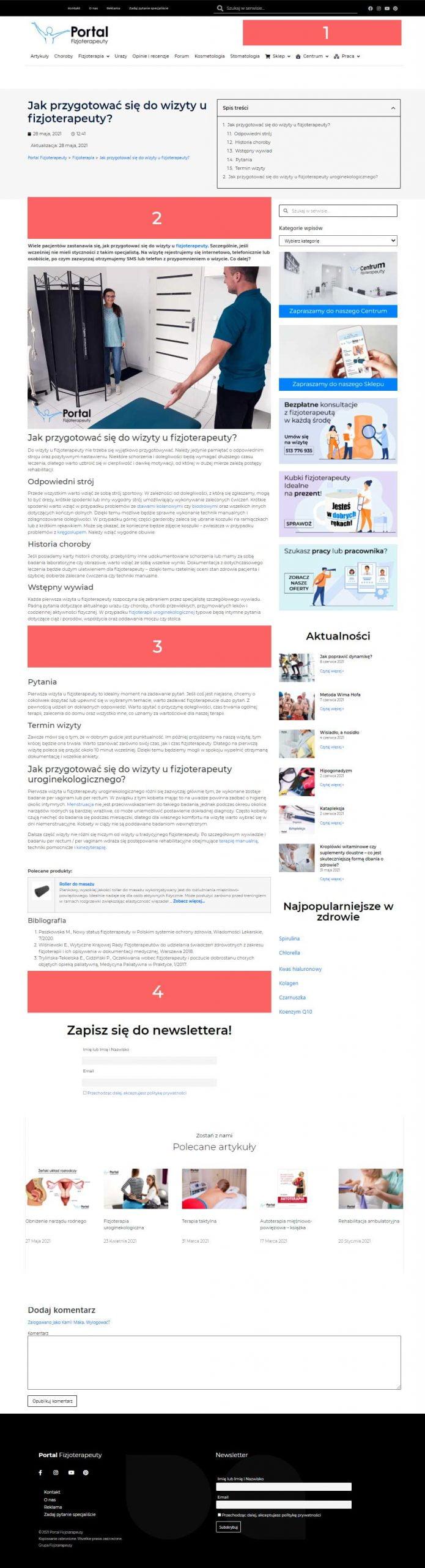 Miejsca reklamowe Portal Fizjoterapeuty